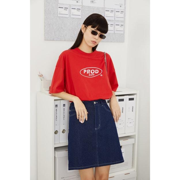 商品详情 - PROD春夏新款潮简约logo宽松薄款短袖T恤 红色 -M - image  0