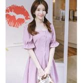 【韩国直邮】ATTRANGS 方领淑女连衣裙 紫色 均码