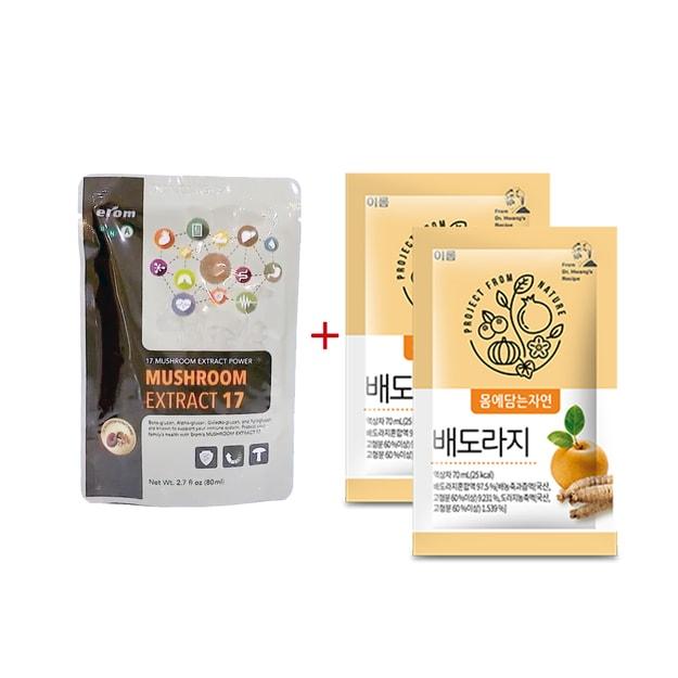 商品详情 - 韩国EROM 益人蘑菇免疫17强1包&桔梗梨汁健康饮品2包 健康组合 - image  0