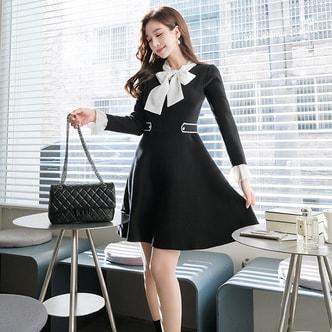 【韩国直邮】ATTRANGS 蝴蝶结装饰荷叶边收腰连衣裙 黑色 均码