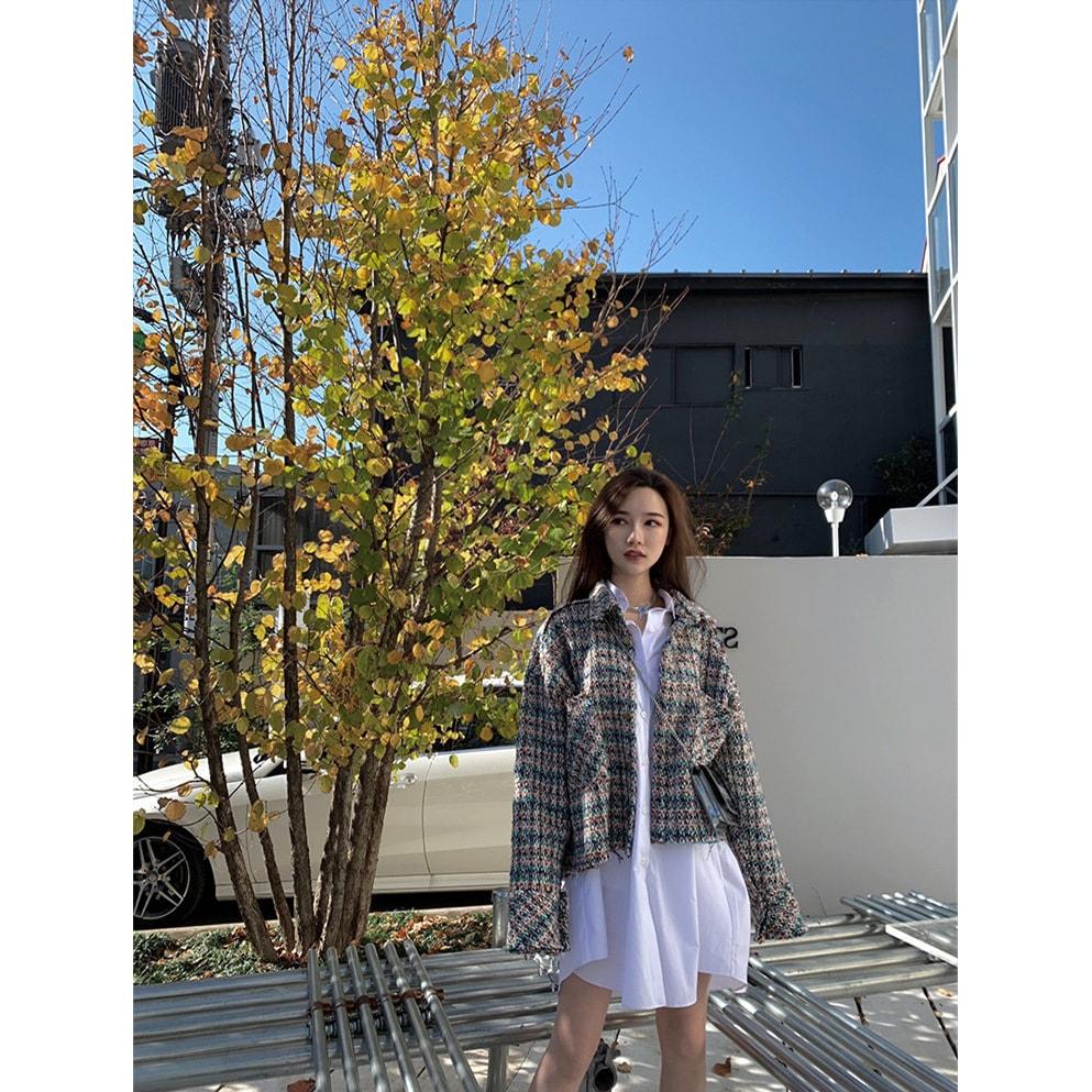 PRINSTORY 2019秋冬 茧型花绿色编织纹小香风复古宽松休闲风显白外套 怎么样 - 亚米网