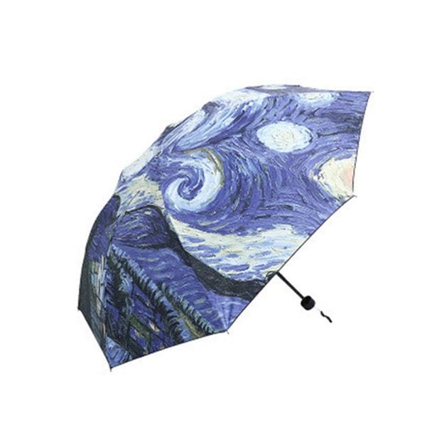 商品详情 - 中国专线直邮 时效5-12天TIMESWOOD 女士户外三折晴雨伞黑胶防紫外线遮阳伞  梵高星空外印 紫色 1件 - image  0
