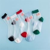 独角定制 创意创可贴趣味袜女 ins风夏季透明水晶玻璃丝袜 5双装