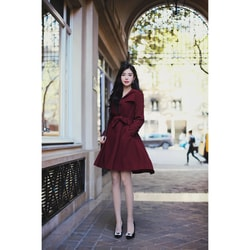 PRINSTORY 2018 Fall/winter Office Lady Trench Coat Wine Red/M