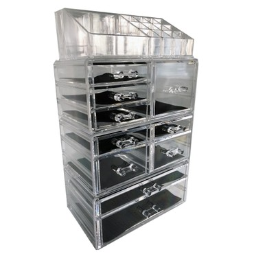 【Cosmetic Storage】ROSELIFE [TGFA] 4-Layers Acrylic Cosmetic Storage Box with 10 Drawers,12+4 Slots,Detachable,Clear