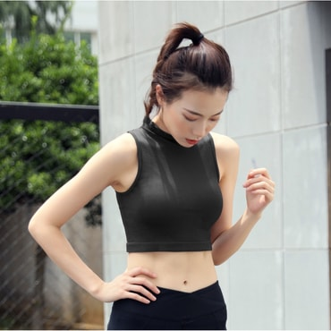 RUNNING STONE Sleeveless Running Shirt #Black M