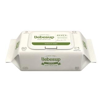 韩国BEBESUP 宝宝湿巾 手口湿巾 优质绿色 ZERO无刺激 带盖 80抽