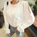 WINGS Cold-Shoulder Tie Sleeve Top #Ivory One Size(S-M)