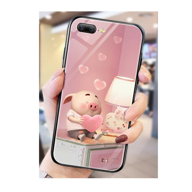 Product Detail - LEARN&WORK Web Celebrity Pig Glass Cell Phone Case For iPhone7P/8P - image 0