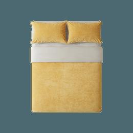 网易严选 暖洋洋的被窝柔暖立体条纹绒四件套 适用2mx2.3m被芯 秋葵黄