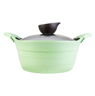 NEOFLAM Nonstick Ceramic Coating Stockpot with Silicone Handle Glass Lid Included 8