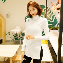 WINGS Side Slit Turtleneck Top #Ivory One Size(S-M)