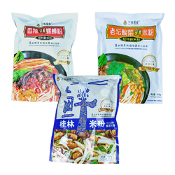 GUILIN SANYANG FRESH RICE NOODLE MIXED FLAVORS COMBO (AUTHENTIC\SOUR VEGGIE\SPICY LUOSI ) 1094G