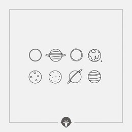 @BECOME Original Tattoo Stickers planets Three Piece
