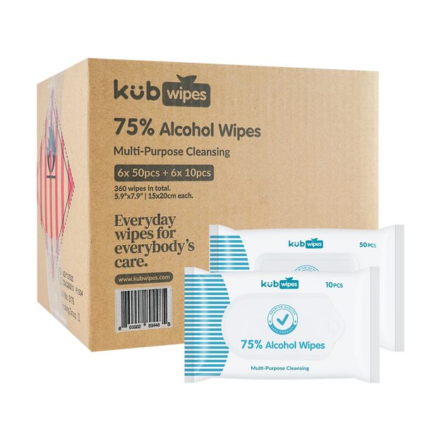 Product Detail - 75% Alcohol Wipes with Aloe 6+6. 6 Packs Of Regular Package (50pcs/pack) & 6 Packs Of Travel Size (10pcs/pack) - image  0