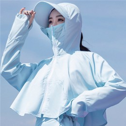 TIMESWOOD Summer Outdoor Riding Sun Protection Masked Hooded Quick-drying Breathable Sunscreen Clothing Light Blue 1PC