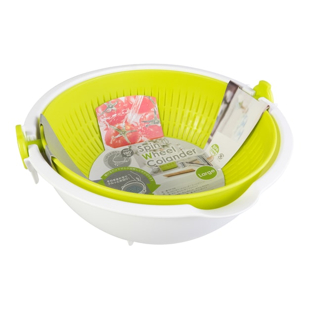 Product Detail - KOKUBO 180 Degrees Spin Wheel Vegetable Washing Drainer Colander Apple Green BPA Free - image 0