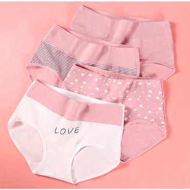浪莎女士内裤女抗菌纯棉中高腰提臀收腹透气4条装粉色XL码