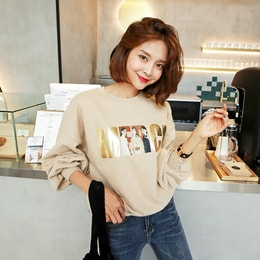 WINGS Puff Sleeve Sweatshirt #Beige One Size(S-M)