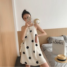 PRINSTORY 2019 Spring/Summer Polka Dot Strap Dress Cream/M