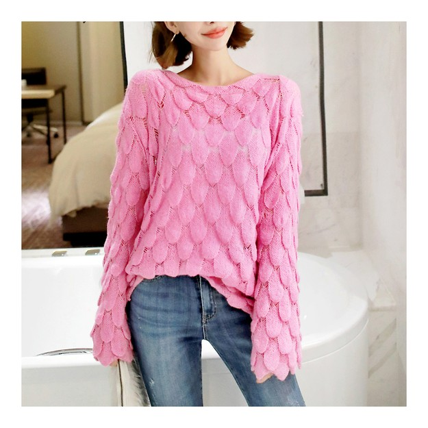 Product Detail - [KOREA] MAGZERO Embossed Leaf Knit Sweater #Pink One Size(S-M) [Free Shipping] - image 0