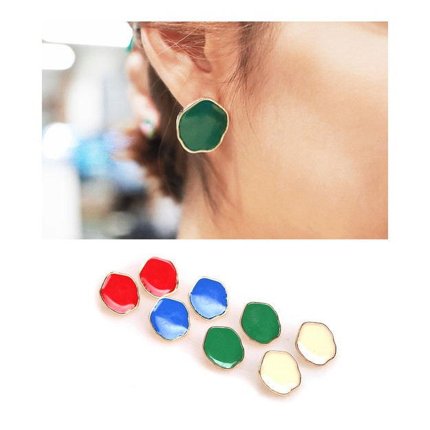 Product Detail - KOREA MAGZERO Pentagon-Shaped Color Metal Earrings #Blue [Free Shipping] - image 0
