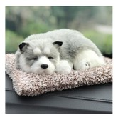 LORDUPHOLD Car Interior Decoration Dog Decor Car Ornament ABS Plush Dogs Shake Head Simulation Sleeping Dog Husky 1 pcs