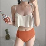 CHERRYKOKO New Korean Women Summer Sexy V-neck Swimsuit ivory free