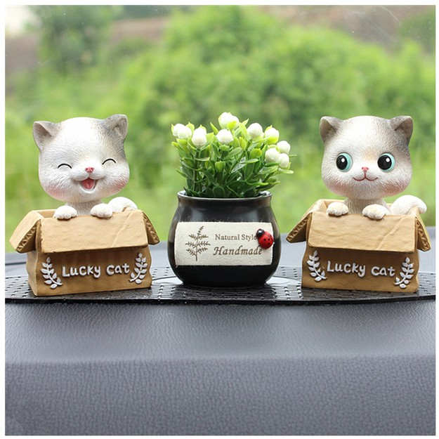 Product Detail - RAMBLE Car Cartoon Cute Cat Shaking Head Decorations Lucky Cat kt Cat Pet Creative Car Interior Products Cat A+B+Flower - image 0