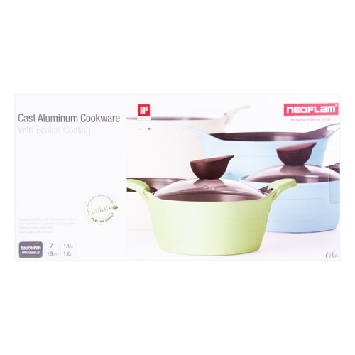 NEOFLAM Nonstick Ceramic Coating Saucepan Glass Lid Included 7