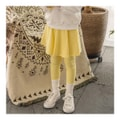 MODELAMI Kid Girl Stretch Cotton Flare Skirt Leggings #Yellow Size M(5-6 years)