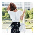 KOREA MAGZERO Wings Shirring Blouse White One Size(S-M) [Free Shipping]