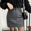 SSUMPARTY Coated Mini Skirt #Black S(25-26)