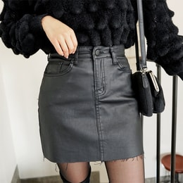 SSUMPARTY Coated Mini Skirt #Black L(29-30)