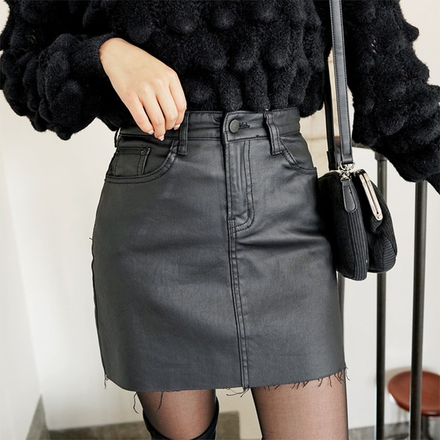 Product Detail - SSUMPARTY Coated Mini Skirt #Black S(25-26) - image 0