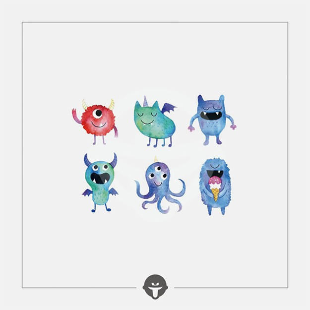 @BECOME Original Tattoo Stickers Little monster Three Piece