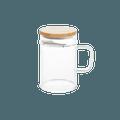 网易严选 楠竹绿茶杯  月牙杯 月牙过滤玻璃杯 带滤片办公杯 (带滤片) 400ml