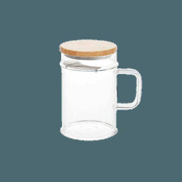 商品详情 - 网易严选 楠竹绿茶杯  月牙杯 月牙过滤玻璃杯 带滤片办公杯 (带滤片) 400ml - image  0