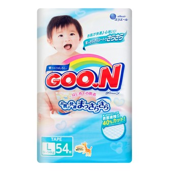 GOO.N Baby Diaper Tape Type L Size 9-14kg 54pc (with Vitamin E)