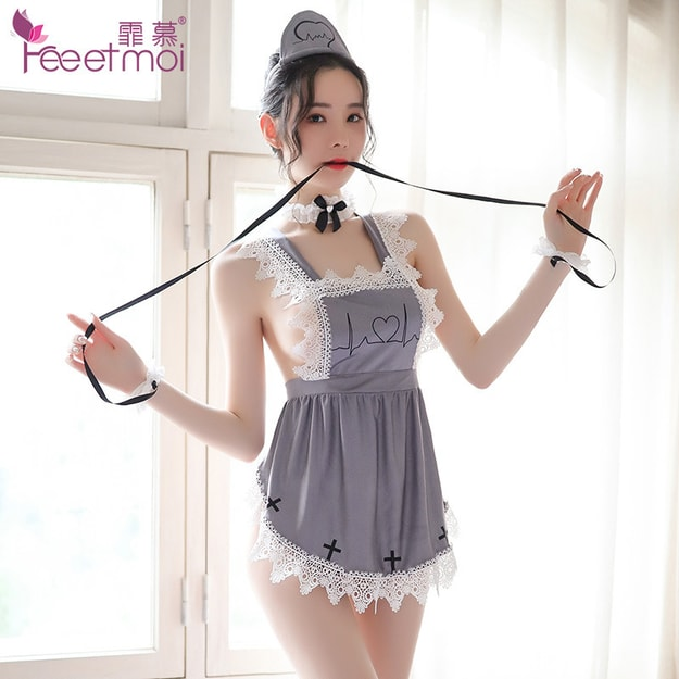 Product Detail - FEE ET MOI Lace halter strap apron and playful sexy nurse suit grey - image 0