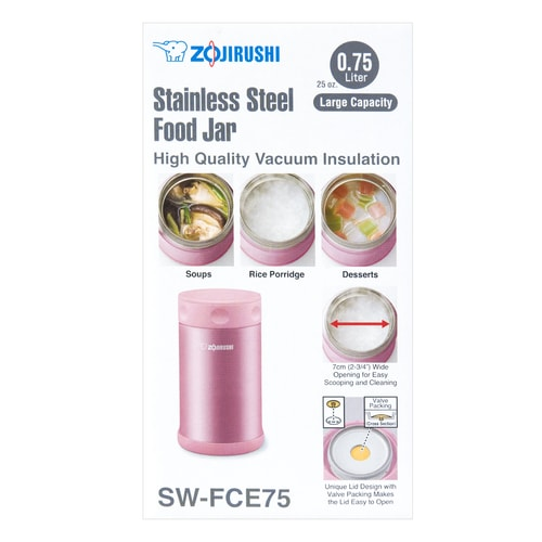 ZOJIRUSHI Stainless Steel Food Jar SHINY PINK 750ml SW-FCE75-PS