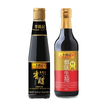 【特惠组合】李锦记 特级鲜味生抽 500ml + 臻选调味香醋 500ml