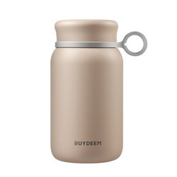 BUYDEEM Vacuum insulated stainless steel water bottle travel mug 300ml pastel pink 1pc