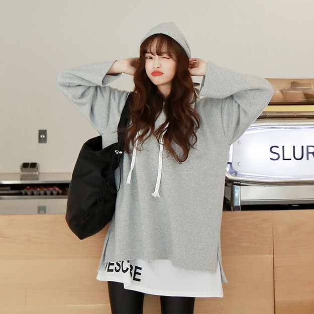 Product Detail - SSUMPART Unbalanced Hoodie With Fleece Lining #Grey One Size(S-M) - image 0
