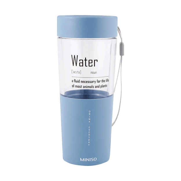Product Detail - Miniso Simple Plastic Water Bottle 410 ml (Blue) - image 0