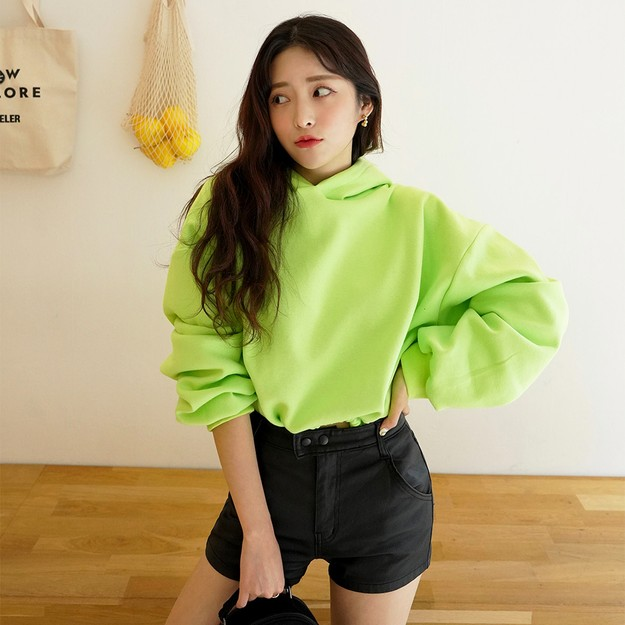 Product Detail - SSUMPARTY Cropped Hoodie #Light Green One Size(S-M) - image 0