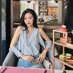 PRINSTORY 2019 Spring/Summer Off-shoulder Sexy Shirt S
