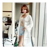 韩国MAGZERO [限量销售] 波西米亚风镂空流苏开衫 #白色 均码One Size(S-M)