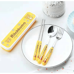 Reusable Travel Stainless Steel Utensil Set Rilakkuma with Carry Box 3pcs Fork Spoon Chopsticks #Yellow