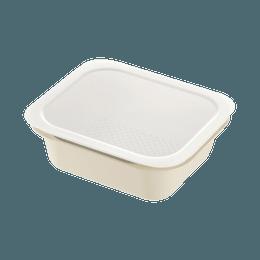 Richell 利其尔||矩形带盖多用保鲜餐盒||象牙白 L 1套(盖子&滤水盒&餐盒)